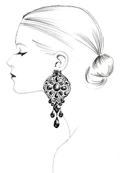 Line Drawing Face Earrings : Designer bridal and estate jewelry carreras