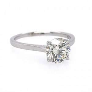 ESTATE 14KT WHITE GOLD 1.72 CARAT DIAMOND SOLITAIRE ENGAGEMENT RING