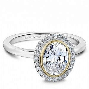 NOAM CARVER 14KT WHITE GOLD OVAL DIAMOND HALO ENGAGEMENT RING MOUNTING