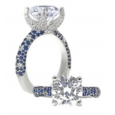 PETER STORM 18KT WHITE GOLD DIAMOND AND SAPPHIRE ENGAGEMENT RING MOUNTING