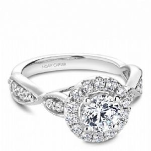 NOAM CARVER 14KT WHITE GOLD DIAMOND HALO ENGAGEMENT RING