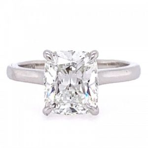 PLATINUM CUSHION CUT DIAMOND SOLITAIRE ENGAGEMENT RING