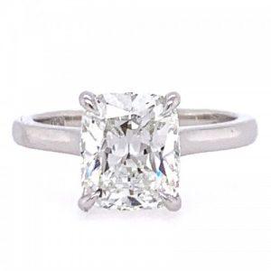 PLATINUM CUSHION CUT DIAMOND SOLITAIRE ENGAGEMENT RING