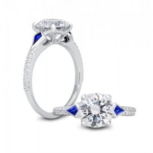 PETER STORM 14KT WHITE GOLD DIAMOND AND SAPPHIRE ENGAGEMENT RING MOUNTING