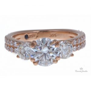 FANA 14K ROSE GOLD THREE-STONE DIAMOND ENGAGEMENT RING