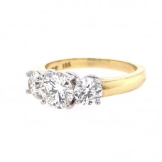 18KT YELLOW GOLD AND PLATINUM THREE-STONE DIAMOND ENGAGEMENT RING