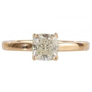 14k Yellow Gold 1.51ct Cushion Diamond Engagement Ring