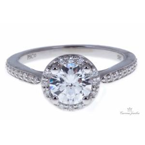 Estate Peter Storm 14k White Gold Diamond Halo Engagement Ring