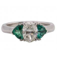 14kt White Gold Diamond And Emeralds Three-stone Ring
