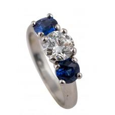 Platinum Diamond And Sapphire Three-Stone Engagement Ring