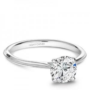 Noam Carver Platinum Round Brilliant Diamond Solitaire Engagement Ring