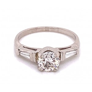 Estate Platinum Round And Tapered  Baguette Diamond Engagement Ring