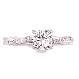 Estate 18kt White Gold Cushion Cut Diamond Engagement Ring