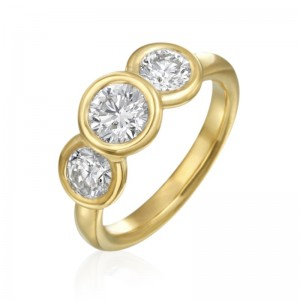 Gumuchian 18K Yellow Gold Three Stoned Bezel Set Engagement Ring From The Moonlight Collection