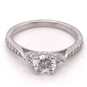 Estate 18kt White Gold Three Stone Diamond Hearts On Fire Engagement Ring