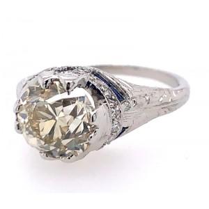 Estate Art Deco Revival Platinum Diamond And Sapphire Engagement Ring