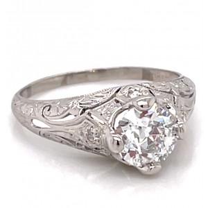 Estate Platinum And Diamond Art Deco Engagement Ring