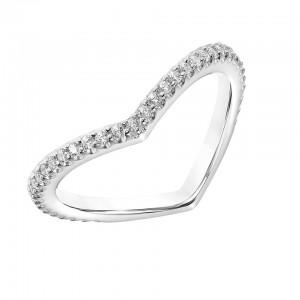 """14kt White Gold """"V"""" Shaped Diamond Band Ring"""