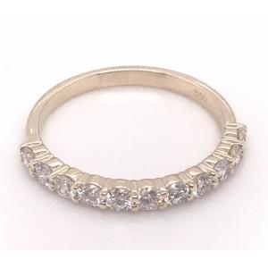14kt Yellow Gold Eleven-stone Round Diamonds Band Ring
