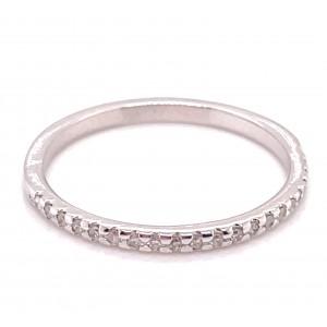 14kt White Gold Diamond Skinny Band Ring