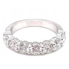 Platinum 1.76 Carat Seven-stone Round Diamonds Band Ring