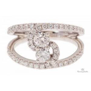 "18kt White Gold ""twin Diamond"" Fashion Ring"