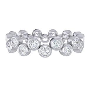 "Fana 14kt White Gold Diamond ""zig-zag Bubbles"" Stackable Ring"