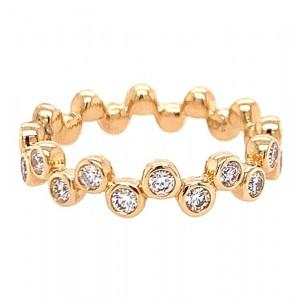 "Fana 14kt Yellow  Gold Diamond ""zig-zag Bubbles"" Stackable Ring"
