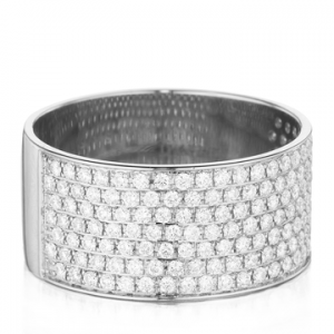 Christophe Danhier 18kt White Gold Wide Pave Diamond Ring