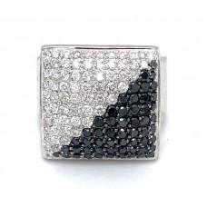 Estate 18kt White Gold Black And White Pave Diamond Cocktail Ring