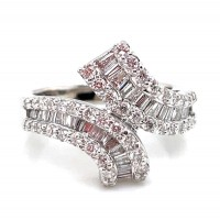 Estate 14kt White Gold Round And Baguette Diamond Bypass Ring