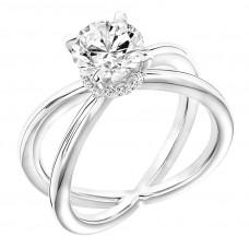 14k White Gold Criss-cross Diamond Engagement Ring Mounting