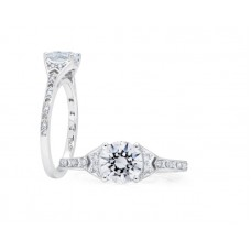 Peter Storm 14kt White Diamond Chevron Engagement Ring Mounting