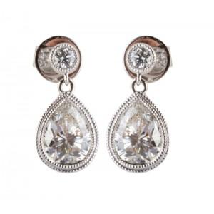 14kt White Gold Pear-shaped Diamond Drop Earrings