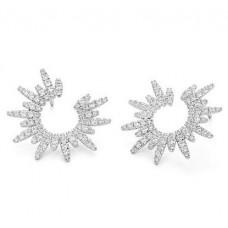 Facet Barcelona 14kt White Gold Diamond Starburst Earrings