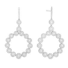Facet Barcelona 14kt White Gold Diamond Circle Dangle Earrings