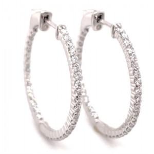 14kt White Gold 1.05-carat Diamond Hoop Earrings