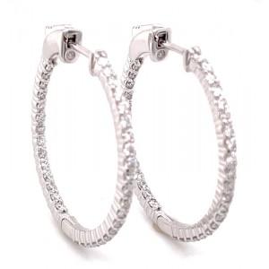 14kt White Gold 1.40-carat Diamond Hoop Earrings