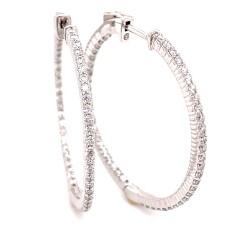 14kt White Gold 2.13-carat Diamond Hoop Earrings
