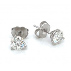 14kt White Gold 1.01 Carat Total Weight Diamond Stud Earrings