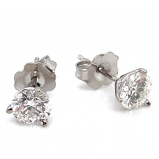 14kt White Gold 1.011 Carat Total Weight Diamond Stud Earrings