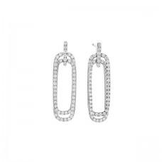 Facet Barcelona 14kt White Gold Diamond Oblong Dangle Earrings