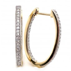 Peter Storm 14kt Yellow Gold Diamond Large Oval Hoop Earrings