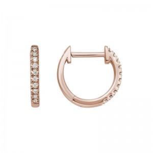 14kt Rose Gold Small Diamond Hoop Earrings
