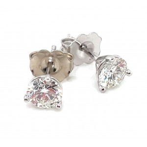 14kt White Gold 0.845 Carat Total Weight Diamond Stud Earrings