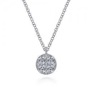 Gabriel & Co. 14kt White Gold Diamond Cluster Pendant