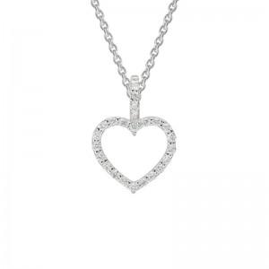 14kt White Gold Small Diamond Open Heart Pendant Necklace