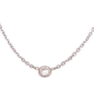 14kt White Gold Bezel-set Diamond Solitaire Necklace