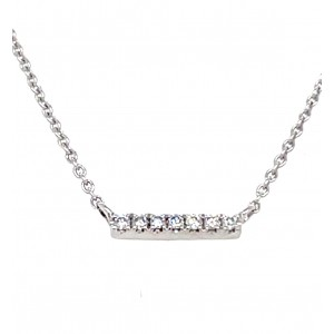 14kt White Gold Diamond Bar Station Necklace.  This Necklace