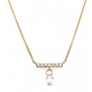 14kt Yellow Gold Diamond Bar Station & Dangle Necklace